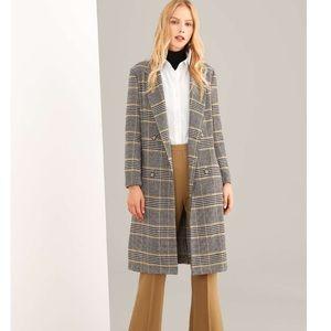 Shein Notched Neck Plaid Coat